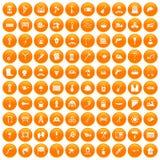 100 tools icons set orange. 100 tools icons set in orange circle isolated on white vector illustration Stock Images