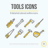 Tools Icons Set (Pliers, Wrench, Axe, Screwdriver, Saw, Brush, Hammer, Tape Measure). Stock Images