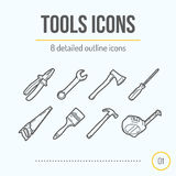 Tools Icons Set (Pliers, Wrench, Axe, Screwdriver, Saw, Brush, Hammer, Tape Measure) Stock Photography