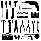 Tools icons set. Silhouettes of construction repair tools icons set isolated on white background. Black and white vector illustration Stock Photos