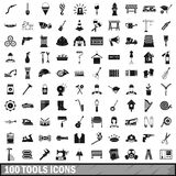 100 tools icons set, simple style. 100 tools icons set in simple style for any design vector illustration Royalty Free Stock Photos