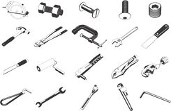 Tools illustrations. Collection of illustrations depicting various tools Stock Photography