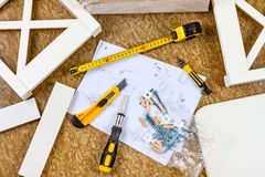 Tools, instructions and details for assembly furniture Royalty Free Stock Images