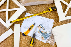 Tools, instructions and details for assembly furniture Stock Images