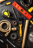 Tools and instruments on black Royalty Free Stock Image