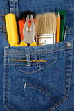 Tools and instruments in jeans Stock Photography