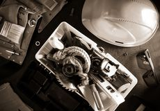 Tools and instruments in toolbox. Tools and instruments with toolbox  on black background royalty free stock images