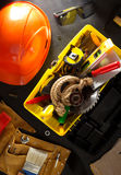 Tools and instruments in toolbox. Tools and instruments with toolbox  on black background Stock Photography