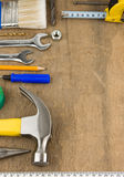 Tools and instruments on wood Royalty Free Stock Images