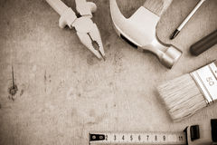Tools and instruments on wood board Royalty Free Stock Image