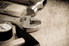 Tools and instruments on wood texture Royalty Free Stock Image