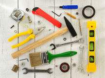 Tools and instruments on wood. En background Stock Images
