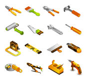Tools Isometric Icons. Set with 3d saw paint roller pliers isolated vector illustration Royalty Free Stock Image