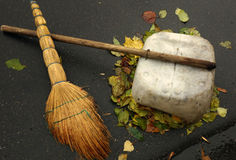 Tools janitor - broom and dustpan Stock Images