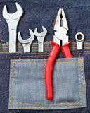 Tools on the jean Stock Photos