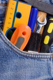 Tools on jeans Stock Images