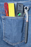 Tools in jeans pocket Stock Images