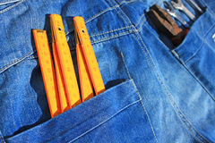 Tools and jeans pocket Stock Photos