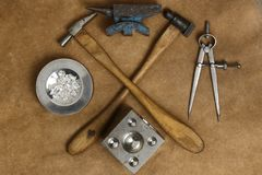 Tools of jewellery. Jewelry workplace on leather background with copy space for text. Top view Royalty Free Stock Image