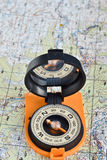 Tools for the journey - map and compass. Stock Image