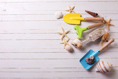 Tools for kids  for playing in sand and sea object on white  pai Stock Photography