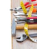 Tools kit on parquet plank Stock Image