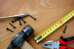 Tools kit on a wood background. Royalty Free Stock Photo