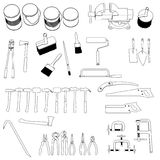 Tools - large collection. 2d cartoon image of tools - large collection Stock Photo