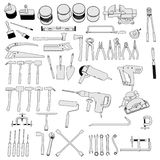 Tools - large collection. 2d cartoon image of tools - large collection Stock Image