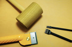 Tools on the leather. Leather craft tools on the leather Royalty Free Stock Images