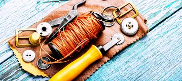 Tools for leather craft Royalty Free Stock Images