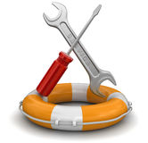 Tools and Lifebuoy (clipping path included) Stock Photos