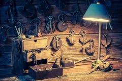 Free Tools, Locks And Keys In Small Locksmiths Workshop Stock Image - 74017621