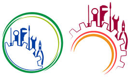 Tools logo. Isolated line art tools logo designs stock illustration