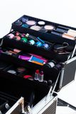 Tools for makeup. Open makeup box with professional tools such as applicator containers tubes lipsticks eyeshades Stock Photos