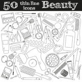 Tools for makeup. Set of 50 cosmetic icons in thin line. Vector collection for beauty design stock illustration