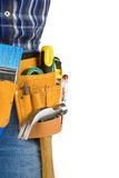 Tools and man with belt on white Royalty Free Stock Photos