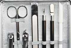 Tools of a manicure. Set in elegant container stock image