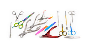 Tools of a manicure set on a white background Stock Images