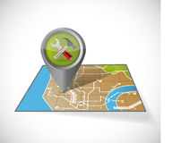Tools and map illustration design Royalty Free Stock Photo