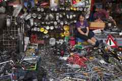 Woman selling tools at market in Bangkok Stock Photography