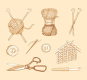 Tools and materials for knitting. Vector sketch Royalty Free Stock Photo