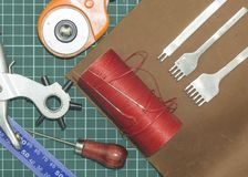 Tools and materials for work with genuine leather royalty free stock image