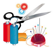 Tools and materials for sewing Royalty Free Stock Photo