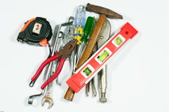 Tools measuring. Tools industry measuring on white background Stock Image
