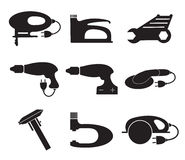 Tools mechanic icons set, black silhouette. Element logo , isolated on a white background. Stock Image
