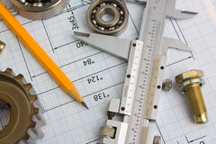 Tools and mechanisms detail Stock Photo