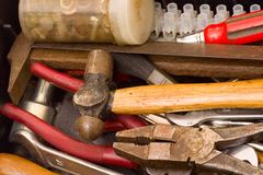 Tools in a messy toolbox Stock Images