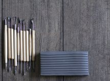 Tools for molding from polymer clay. Sculpting from polymer clay. Set of tools. Wooden handles, metal products Royalty Free Stock Image