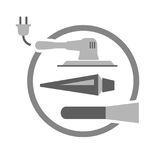 Tools needed for painting door. Vector symbol or logo Stock Image